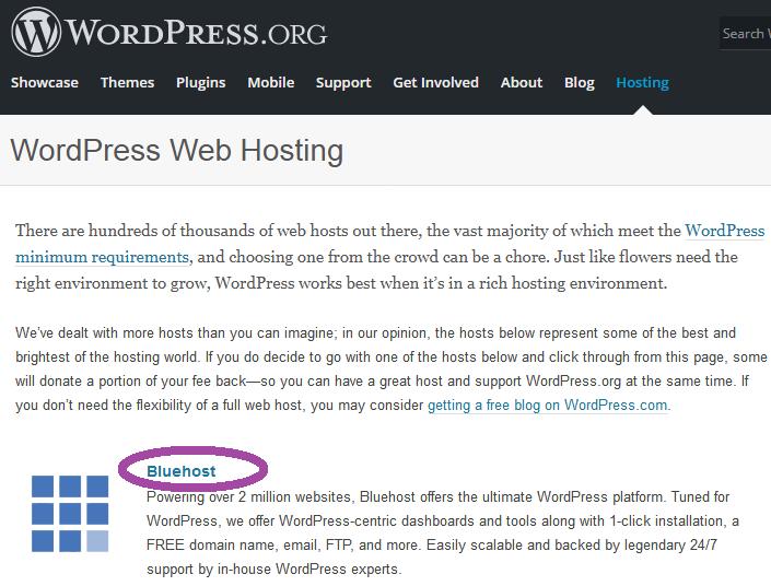 WordPress Рекомендует Bluehost