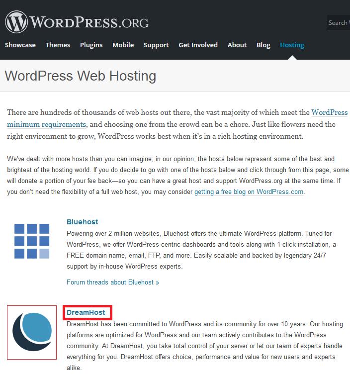 WordPress Рекомендует DreamHost